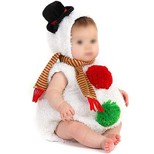 Carolilly - Disfraz de Halloween para bebé de niña, diseño de calabaza y muñeco de nieve Blanc-bonhomme de Neige 12-18 Meses