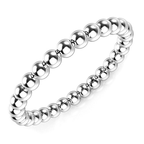 Metal Factory 925 Sterling Silver 2MM Eternity Bead Wedding Band Ring