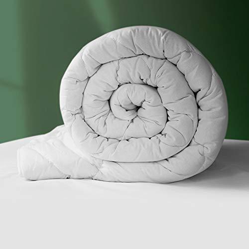 Natural, edredón de lana británico, con cubierta exterior de algodón de 200tc - Clásico – Caliente - Cama Super-King Size (W260cm x L220cm) - woolroom