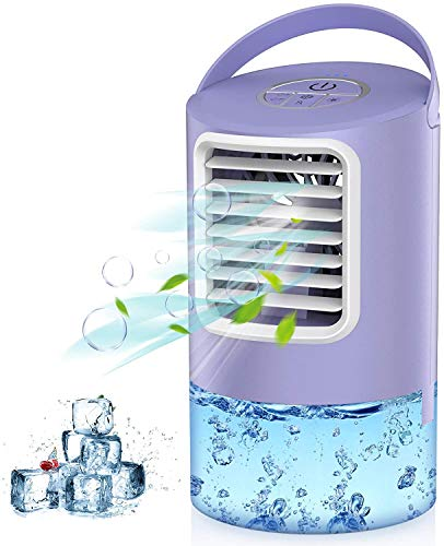Air Cooler, 3 IN 1 Mobile Air Conditioner Fan, Personal Space Cooler Desktop Portable Mini Evaporative Misting Fan Air Conditioner 3 Speed 7 Color LED Light Purple for Home, Office, Kitchen-Mkocean