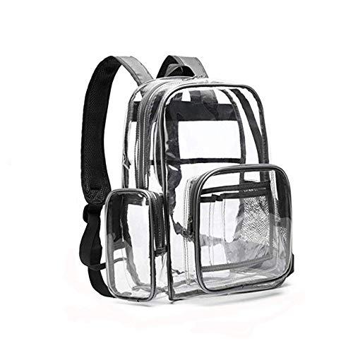 SPEEDEVE Mochila Bolso Escolar PVC Transparente estancas,Gris,40.6x33x12.7cm