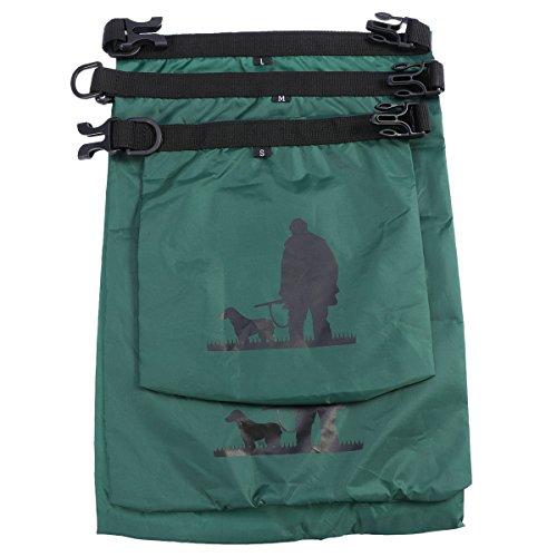 UEETEK 3 Stück / Set Wasserdichte Trockenbeutel,Ultra-light Nylon Packsacks für Camping Bootfahren Kajakfahren Rafting Angeln, ideal zum Speichern von Mobiltelefonen, Kamera, Schuhe, Armeegrün,(1,5 L + 2,5 L + 3,5 L) - 3