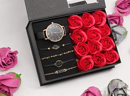 Caja de regalo para mujer – Varios modelos disponibles – Relojes – Juego de joyas – Collares – Anillos – Pendientes – Pulseras – PLANETE-COFFRET – Modelo 1 rosa roja.