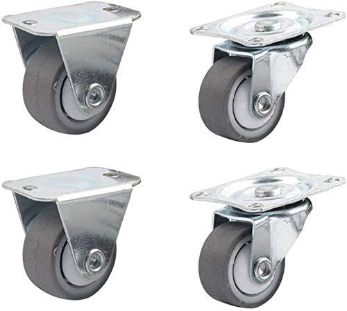 Para Silla Oficina Pack de 4 Rueda de goma for no giratoria Ruedas metal con placa de muebles de aparatos y equipos Pequeño Castor Mini Tamaño Nombre: 1in Nombre de color: C ( Color : C , Size : 1In )