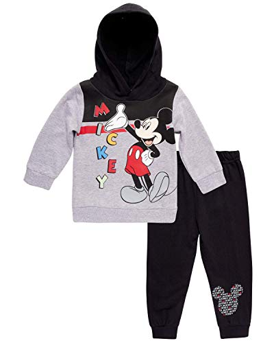 Disney Baby Boys' Mickey Mouse Hoodie and Pant 2-Piece Set (Newborn and Infant), Mickey Red, Size 24M