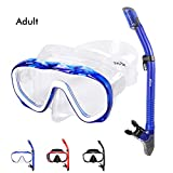 Kuyou Snorkel Set Adults,Dry Snorkeling Set Men Women Anti-Fog Snorkel Mask Impact Resistant Panoramic Tempered Glass Easy Breathing and Professional Snorkeling Gear for Youth Adults