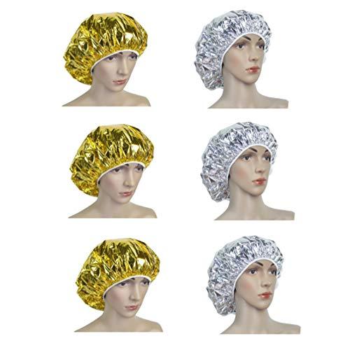 Minkissy 6 Piezas de Cuidado Capilar Tratamiento Cap Spa Spa Acondicionamiento Profundo Papel de Aluminio Aislamiento Térmico para Mujeres Hombres