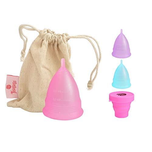 Femme Essentials Copa Menstrual + Bolsa de Algodón | 100% de Silicona Hipoalergénica para Uso Médico | Ecológica, Segura, Cómoda y Higiénica | Tamaño: Grande | Color: Rosa