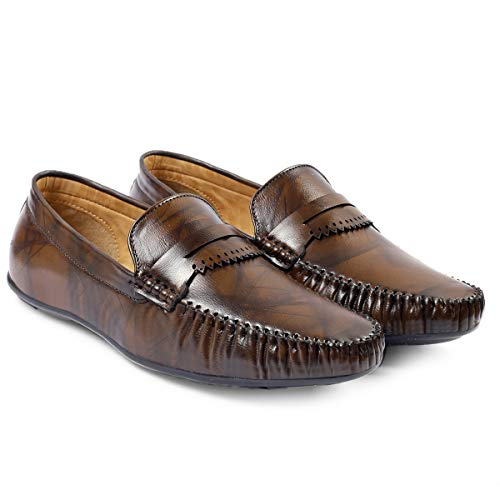 ROCKFIELD Men's Synthetic Leather Loafer Shoes for Men's (Brown, Numeric_8)