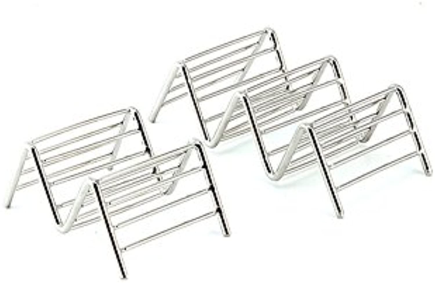 STOREHOMER  Kitchen Organizer Storage Food Rack Taco Holder 3 Waves Shape Stainless Steel Shell Mexican Pancake Container Shelf