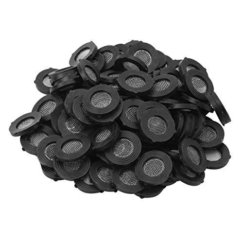 Alvivi 100 Stück Dichtung O Ring Schlauchdichtung Filternetz Duschkopf Edelstahl Dichtung Gummi Scheibe für 3/4 Zoll 1/2 Zoll Dusch Brausekopf Schwarz Typ C Einheitsgröße