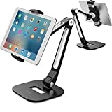 AboveTEK Long Arm Aluminum Tablet Stand, Folding iPad Stand with 360° Swivel iPhone Clamp Mount Holder, Fits 4-11' Display Tablet/Phones for Kitchen Table Bedside Office POS Kiosk Reception Black