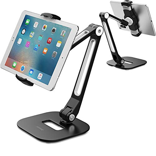 AboveTEK Long Arm Aluminum Tablet Stand, Folding iPad Stand with 360°...