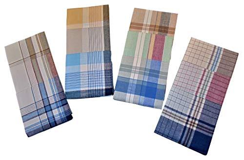 Karl Teichmann 4 x 3er Herren Stoff-Taschentücher Cellopackung. Unterschiedliche Designs (2x weißgrundig, 2x fondfarbig) 40 x 40 cm