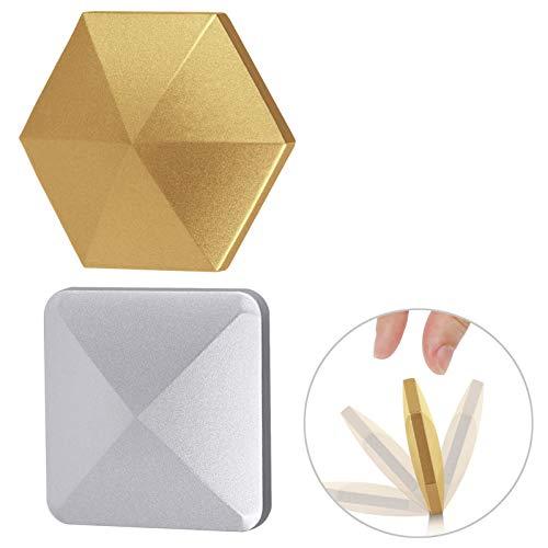MIKIMIQI Fingertip Flipo Flip, 2 Pack Fingertip Gyro Desktop Flip Metal Decompressor Pocket Kinetic Energy Toys Relieves Fatigue Stress Metal Fingertip Spinning Toy, Silver Gold