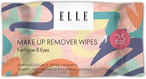 Elle Makeup Remover Wipes - Hypoallergenic Facial Cleansing Wipes for Face and Eyes - Mascara Removing Cleansing Cloths (1 Pack)