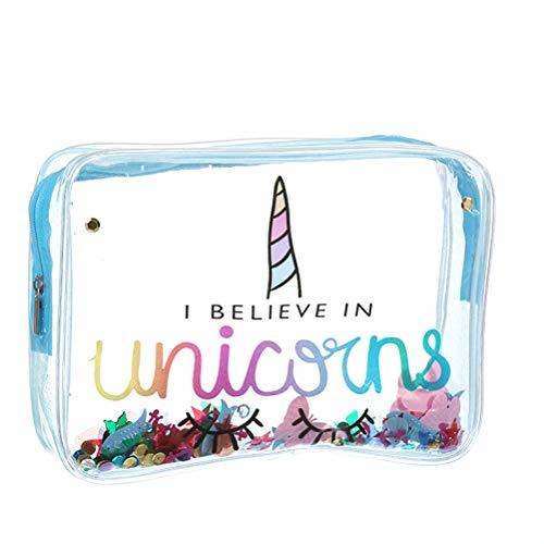 Bolsa de cosméticos con diseño de unicornio, bolsa de viaje transparente, gran capacidad, para niñas y mujeres, 19,7 x 5,6 x 15,1 cm