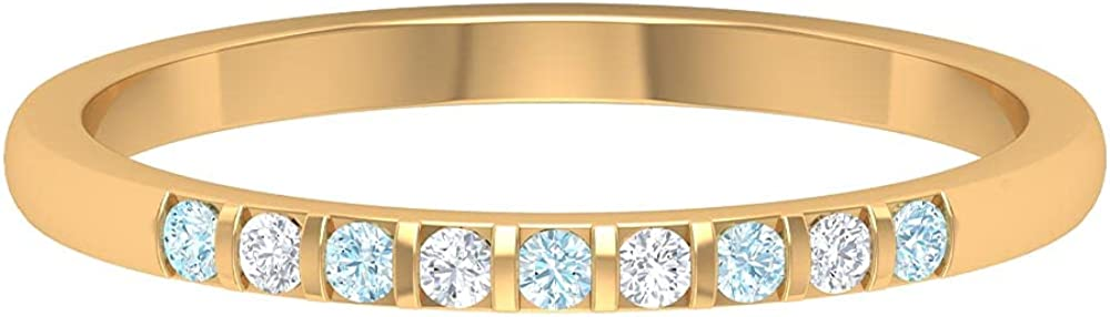 Aquamarine and Diamond Nine Stone Stackable Band Ring, 14K Solid Gold