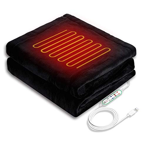 Sunto 電気毛布 USBブランケット 電気ひざ掛け 100*60cm 3段階温度調節 USB電気ブランケット 肩掛け ひざ掛け 暖房器具 テント泊用 洗濯可能 (黒色)