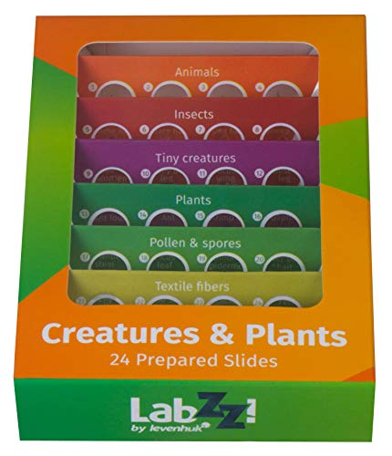 Levenhuk LabZZ CP24 Creatures & Plants Microscope Prepared Slides Set for Botany and Zoology