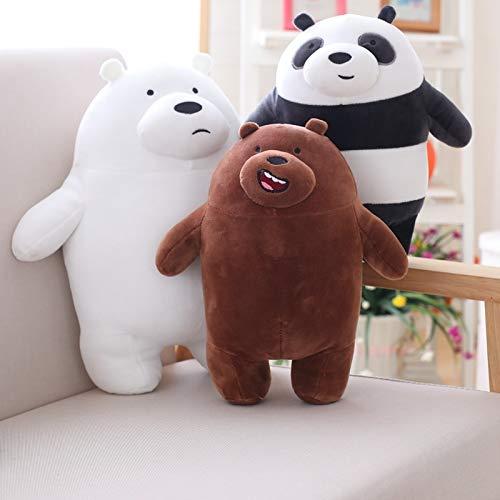 yqs 3pcs 27cm Kawaii We Bare Bears Peluche Cartoon Bear Orso Farcito Grigio Grigio Orso Bianco Panda Doll Bambini Amore Regalo di Compleanno