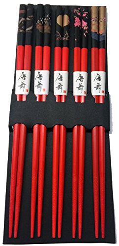 JapanBargain 3673, Bamboo Chopsticks Reusable Japanese Chinese Korean Wood Chop Sticks Hair Sticks 5 Pair Gift Set Dishwasher Safe, 9 inch (1, Red)