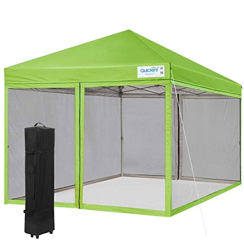 Quictent Ez Pop up Canopy with Netting Instant Screen House Tent Mesh Side Wall- (Green, 8 Feet x 8 Feet)
