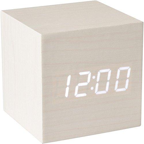 Anytime 35-1H-006 Réveil numérique LED Bois Blanc Cube Affichage LED Blanc Horloge Thermomètre Calendrier Veille automatique H6,5 x 6,5 x 6,5 cm
