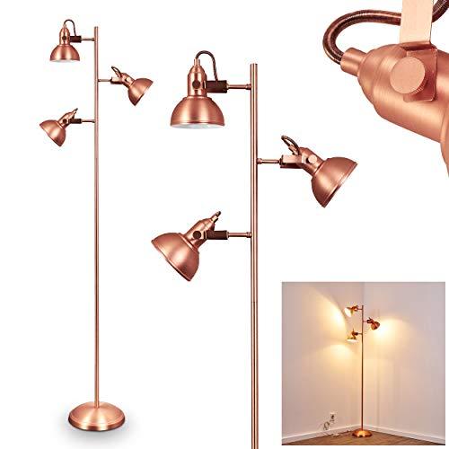 Lampe sur pied Sourdeval en métal couleur cuivre cuivre – Lampe de sol pour bureau – Chambre – Salon – Cette lampe dispose d'un interrupteur sur le câble