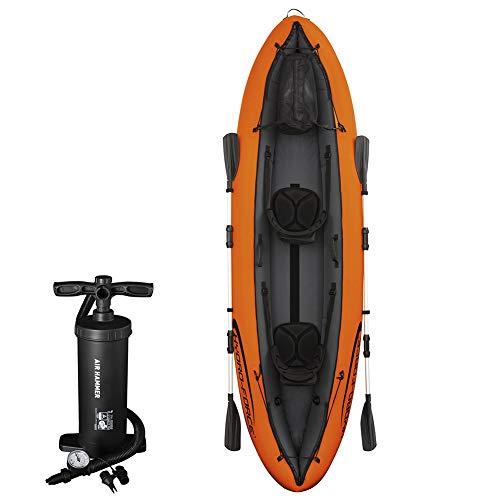 RHSMW Kayak Inflable, Rafting Kayak Doble Canoa Bomba de Aire de Paleta de Entrega Asientos inflables Ajustables diseñados para Comodidad y Espacio