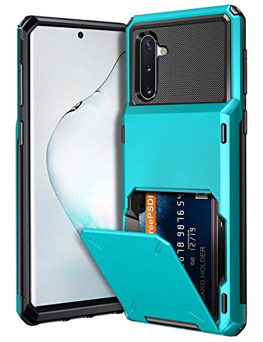 Vofolen Case for Galaxy Note 10 Case Wallet 4-Slot Pocket Credit Card ID Holder Scratch Resistant Dual Layer Protective Bumper Rugged Rubber Armor Hard Shell Cover for Samsung Galaxy Note 10 Sky Blue