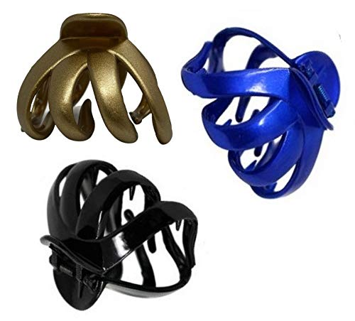 Octopus Plastique cheveux griffe agrafe papillon taureau chien design, large poignée pour cheveux épais (Ensemble de 3 (noir/bleu/or))