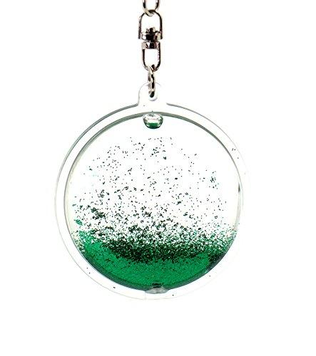 creationtop Liquid Schlüsselanhänger Modische Glitter Glitzer Puder beweglichen Schwimmende Schlüsselanhänger, Grün
