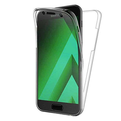 """TBOC Cover per Samsung A5 (2017) (5.2"""") - Custodia [Trasparente] Completa Copertura Integrale [Silicone TPU] Protezione Totale [360 Gradi] Full Body Anteriore Posteriore Sottile Case Resistente Graffi"""