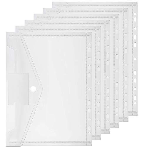 Dokumententasche A4, Samione 20 Stück A4 Sichttasche Transparent Flexible Ordner für Dokument Organisieren mit Lochrand Klettverschluss und Etikettentasche