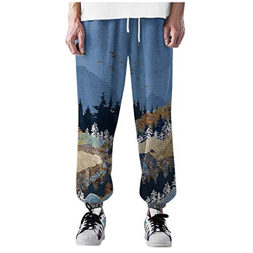Pantalones de deporte para hombre, pierna recta y cordón relajado, con estampado de montaña, estilo hip hop, modernos, pantalones informales, un gran regalo para familia y amigos., azul, M