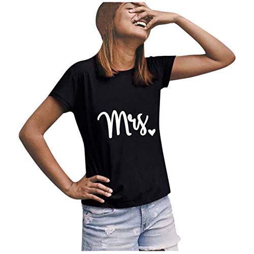 t Shirt Damen Shirt Damen T-Shirts Frauen Paare Liebhaber Valentinstag Kurzarm Liebesbrief Print Tops (3XL,9Damen-Schwarz)