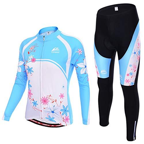 Epinki Herren Rad Trikot Fahrradtrikot Blau Rose Radfahren Jersey Atmungsaktiv Schnell Trocken Sports Fahrradbekleidung Radtrikot Set Größe XXL
