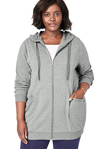 Woman Within Women's Plus Size Zip Front Tunic Hoodie - Medium Heather Grey, 4X