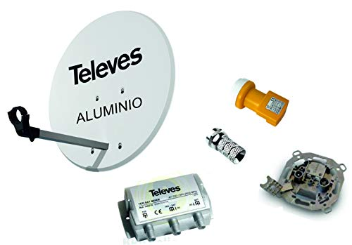 Kit Antena PARABOLICA 63cm Aluminio TELEVES + Mezclador DE SATELITE