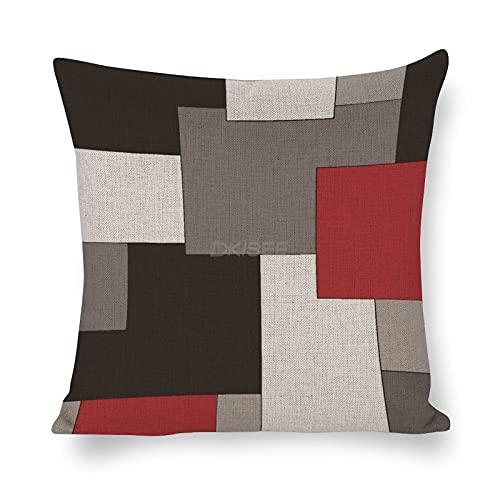 DKISEE O66b208dfmux - Funda de almohada decorativa geométrica irregular, 45 x 45 cm, decoración del hogar para sofá cama, funda de almohada de lino de algodón con cremallera invisible