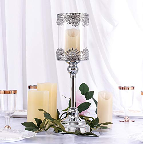 Wedding Venue Shop'Glass Hurricane Candle Holder - 15'   Lace Design   Silver   1 Pc.'