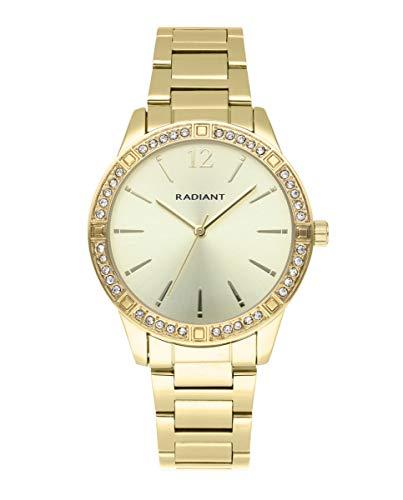 Reloj analógico para Mujer de Radiant. Colección Shiny Pastels. Reloj de Brazalete Dorado con Esfera a Tono y pedrería Blanca en el Bisel. 3ATM. 38mm. Referencia RA566201.