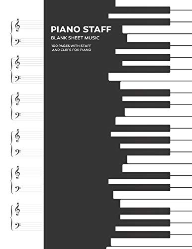 Funky Piano Keys: 8.5x11 Blank Sheet Music Notebook, 100 Pages
