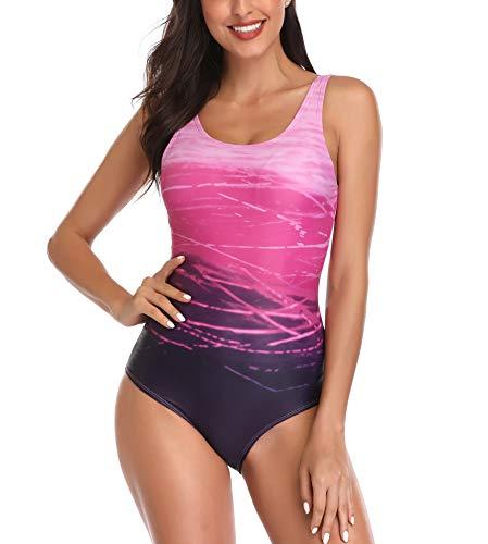 Jimilaka Women's One Piece Athletic Training Swimsuits Swimwear Bathing Suit (XXL/US14-16, Purple Gradient)