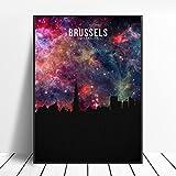 zhuifengshaonian Bruselas Starry City Skyline Lienzo Pared Arte impresión Cartel Moderno Cuadros de Pared decoración para Sala de Estar (ZW-1380) Sin Marco Poster 40x60cm