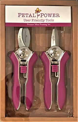 Petal Power Damen-Gartenscheren-Set – Zwei rasiermesserscharfe rosa Damen-Gartenscheren – Bypass & Trimmer Damenschere – bestes Gartengeschenk für Frauen