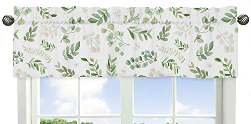 Sweet Jojo Designs Floral Leaf Window Treatment Valance - Green and White Boho Watercolor Botanical Woodland Tropical Garden