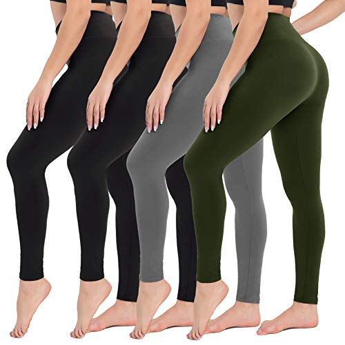 4 Pack High Waisted Leggings for Women Soft Tummy Control Slimming Yoga Pants for Workout Running Reg Plus Size