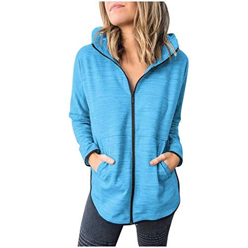 GOKOMO Kapuzenmantel Jacke Damen Coat Mantel Mit Kapuze Sweatjacke Hochwertig Verarbeitet Kuschelig Warmer Pullover(Blau,Medium)